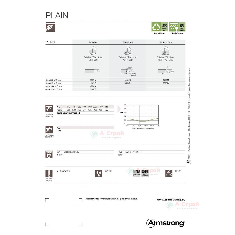 Подвесной потолок Армстронг PLAIN (ПЛЕЙН) Microlook