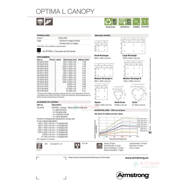 Потолки-фрагменты Армстронг OPTIMA L CANOPY