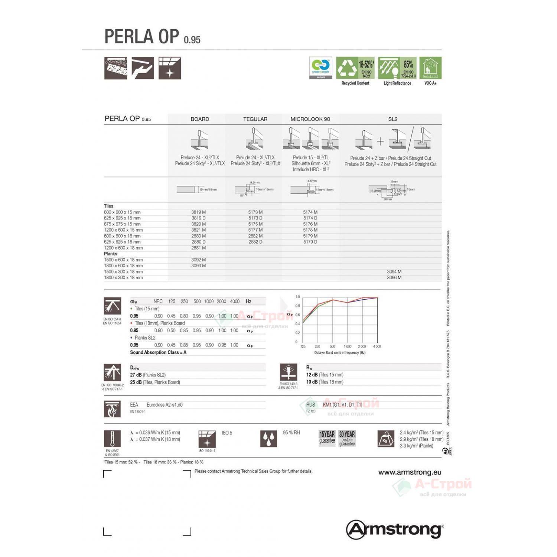 Подвесной потолок Армстронг PERLA OP (0,95) (ПЕРЛА ОП 0,95) Board