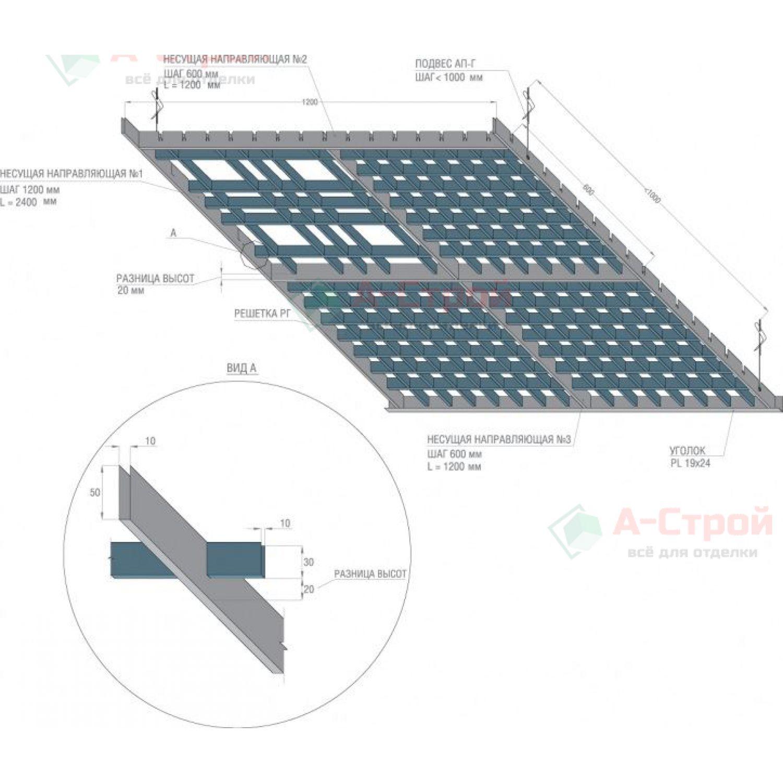 Грильято потолок «Разноуровневый»