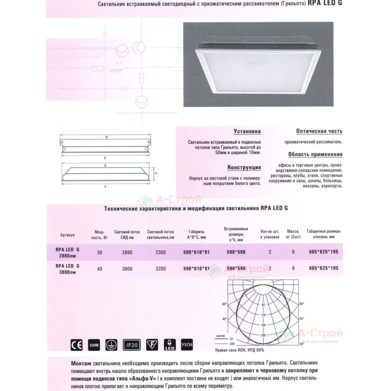 Светильник светодиодный для Грильято Албес RPA LED G с призматическим рассеивателем