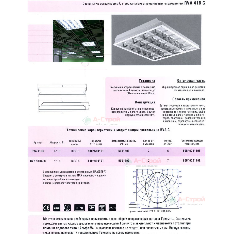 Встраиваемый светильник RVA 418G в потолок типа Грильято